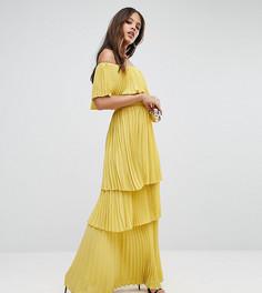 Плиссированное платье макси с открытыми плечами и оборками TTYA BLACK - Фиолетовый Taller Than Your Average