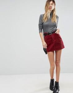 Вельветовая мини-юбка ягодного цвета ASOS - Красный