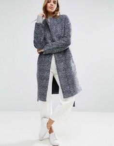Полушерстяное пальто с запахом и ремнем Native Youth - Темно-синий