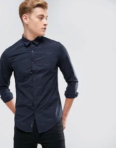Темно-синяя рубашка узкого кроя со сплошным принтом логотипа Armani Jeans - Темно-синий