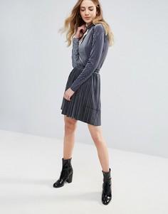 Бархатная мини-юбка плиссе Ichi - Серый
