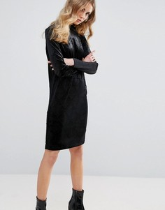 Бархатное цельнокройное платье с тисненым узором Ichi - Черный
