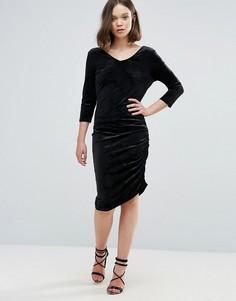 Бархатное асимметричное платье Ichi - Черный