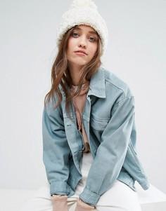 Вязаная шапка-бини с помпоном Free People - Кремовый
