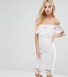 Кружевное платье-футляр с открытыми плечами и оборками Paper Dolls Petite - Белый