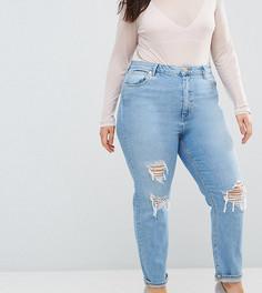 Светлые рваные джинсы слим в винтажном стиле с завышенной талией ASOS CURVE FARLEIGH - Синий