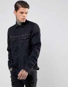 Рубашка из искусственной замши классического кроя с заклепками и бахромой ASOS - Черный