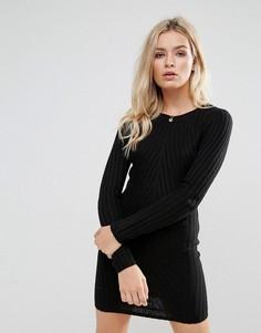 Платье-джемпер в рубчик Brave Soul - Черный