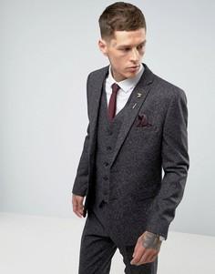 Серый приталенный пиджак в крапинку Harry Brown - Серый