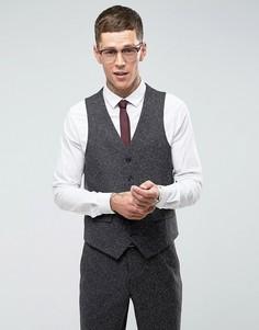 Серый приталенный жилет в крапинку Harry Brown - Серый