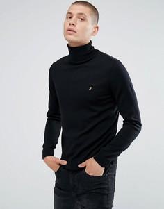 Черный узкий джемпер из мериносовой шерсти с отворачивающимся воротом Farah Gosforth - Черный
