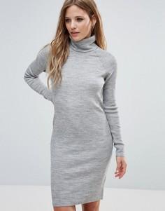 Платье с отворачивающимся воротом и длинными рукавами Noisy May - Серый