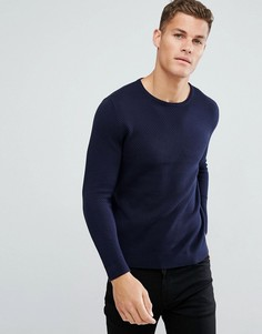 Вязаный фактурный джемпер Burton Menswear - Темно-синий