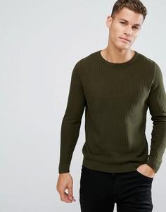 Фактурный джемпер цвета хаки с круглым вырезом Burton Menswear - Зеленый