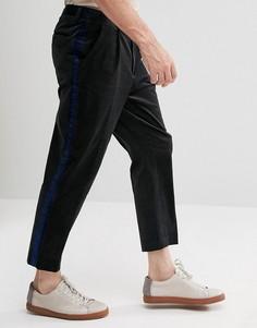 Серые фактурные зауженные брюки с полосками по бокам ASOS - Серый