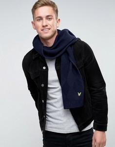 Вязаный шарф с узором в ромбик Lyle & Scott - Темно-синий