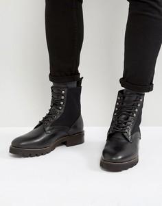 Кожаные ботинки на шнуровке Hudson London Elmore - Черный