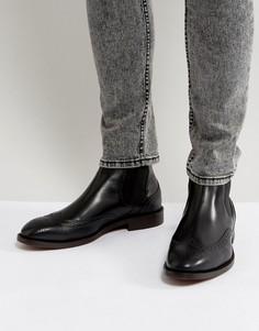 Черные кожаные броги Hudson London Breslin - Черный
