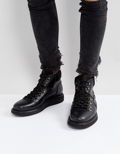 Кожаные походные ботинки на шнуровке Hudson London Stange - Черный