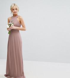 Плиссированное платье макси с высокой горловиной TFNC Petite WEDDING - Розовый