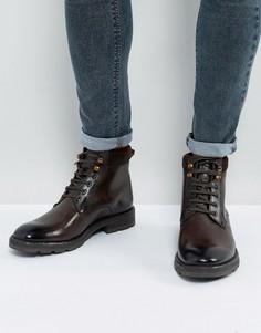 Коричневые кожаные ботинки на шнуровке Base London Panzer - Коричневый