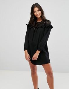 Свободное платье с кружевом Brave Soul - Черный