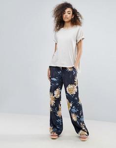 Широкие брюки с цветочным принтом Gestuz Via - Темно-синий