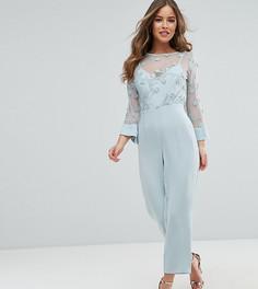 Комбинезон с кружевным топом и контрастными атласными брюками ASOS PETITE - Синий