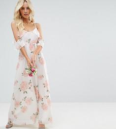 Платье макси с открытыми плечами и розами John Zack Petite - Мульти