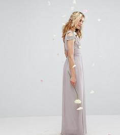 Платье макси с открытыми плечами и декоративной отделкой TFNC WEDDING - Серый