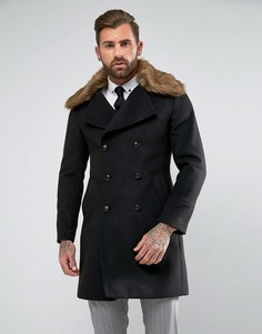Пальто в стиле милитари с отделкой искусственной шерстью Gianni Feraud - Черный