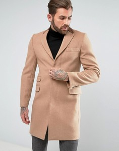Классическое однобортное пальто с бархатной отделкой Gianni Feraud - Светло-серый