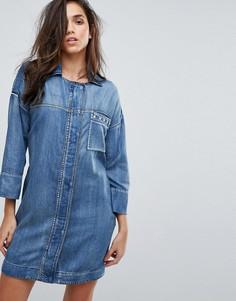 Джинсовое платье в стиле милитари с заклепками Replay - Синий