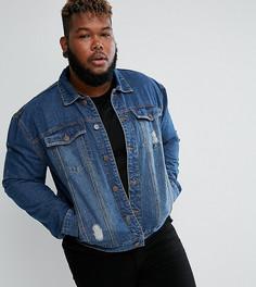 Синяя джинсовая куртка с выбеленным эффектом Duke PLUS - Синий