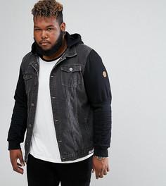 Черная джинсовая куртка с трикотажными рукавами Duke PLUS - Черный