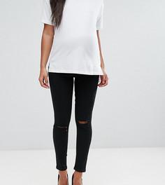 Черные джинсы скинни с дырками на коленях ASOS MATERNITY RIDLEY - Черный