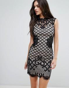 Кружевное платье-футляр Lipsy - Черный