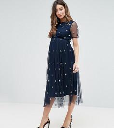 Платье миди с 3D-отделкой Maya Maternity - Темно-синий