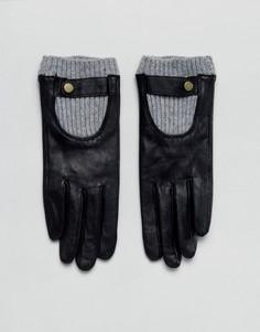 Кожаные перчатки с манжетами в рубчик ASOS - Черный
