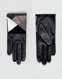 Монохромные перчатки для сенсорного экрана из кожи и замши ASOS - Мульти