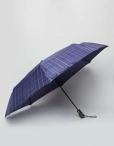 Темно-синий зонт в клетку Fulton Open & Close - Синий