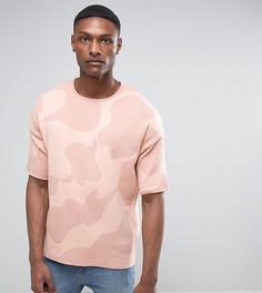 Розовая трикотажная оверсайз-футболка с камуфляжным принтом ASOS TALL - Розовый