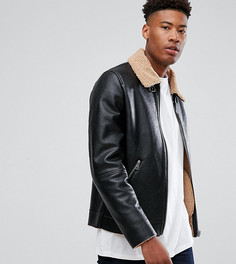Черная куртка с искусственной овечьей шерстью ASOS TALL - Черный