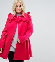 Короткое приталенное пальто с оборками ASOS CURVE - Розовый