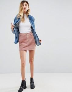 Бледно-розовая вельветовая мини-юбка ASOS - Розовый