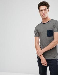 Футболка в полоску с контрастным карманом Selected Homme - Темно-синий