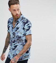 Голубая рубашка с гавайским принтом Rollas Bon - Синий Rollas