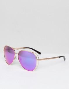 Солнцезащитные очки‑авиаторы с розовыми стеклами Michael Kors Chelsea - Золотой