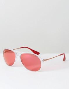 Очки-авиаторы с прозрачной оправой и красными стеклами Ray Ban - Красный