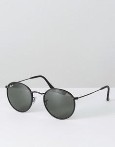 Классические круглые солнцезащитные очки с кожаной отделкой на оправе Ray Ban - Черный